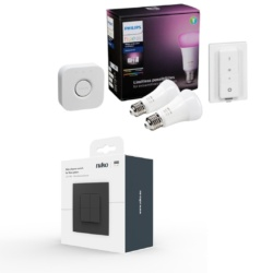 Niko lysdæmper Antracit & Philips Hue White+Colour Ambience Starter Kit