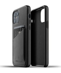 Mujjo Full Leather Wallet Case for iPhone 12/12 Pro Black