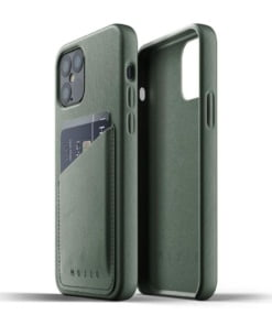 Mujjo Full Leather Wallet Case for iPhone 12/12 Pro Slate Green