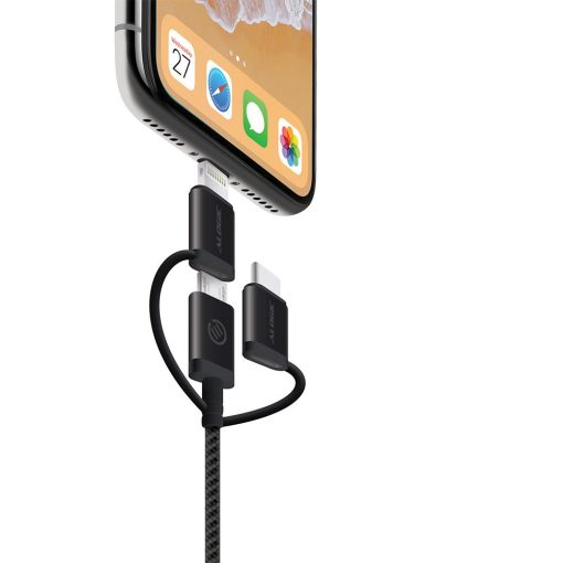 Alogic 3-In-1 Charge &Amp; Sync Combo Cable - Micro Usb/Lightning/Usb-C 30Cm