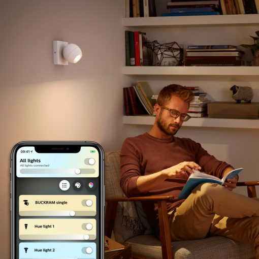 Philips Hue Buckram 1X5W Without Remote, Bluetooth - Hvid